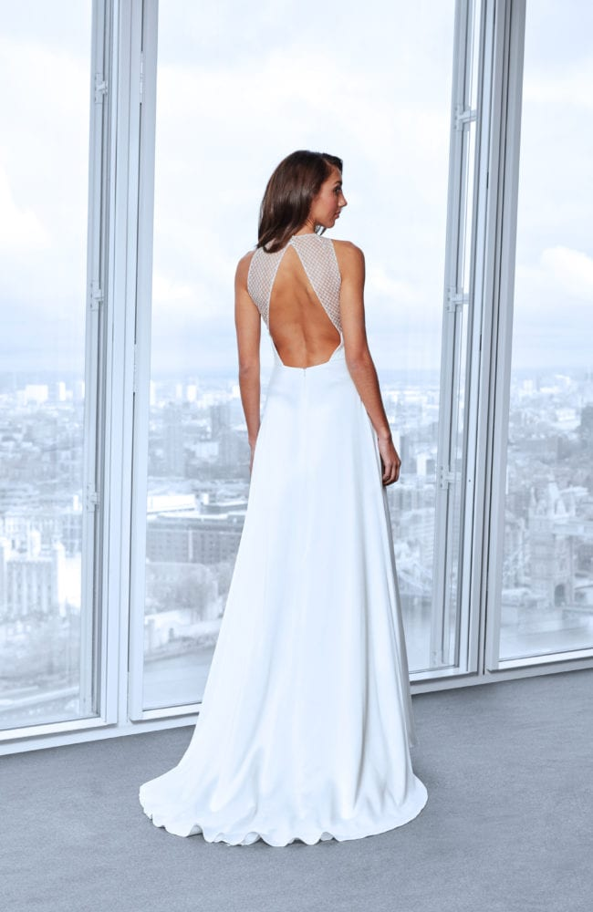 lace portrait back wedding dress