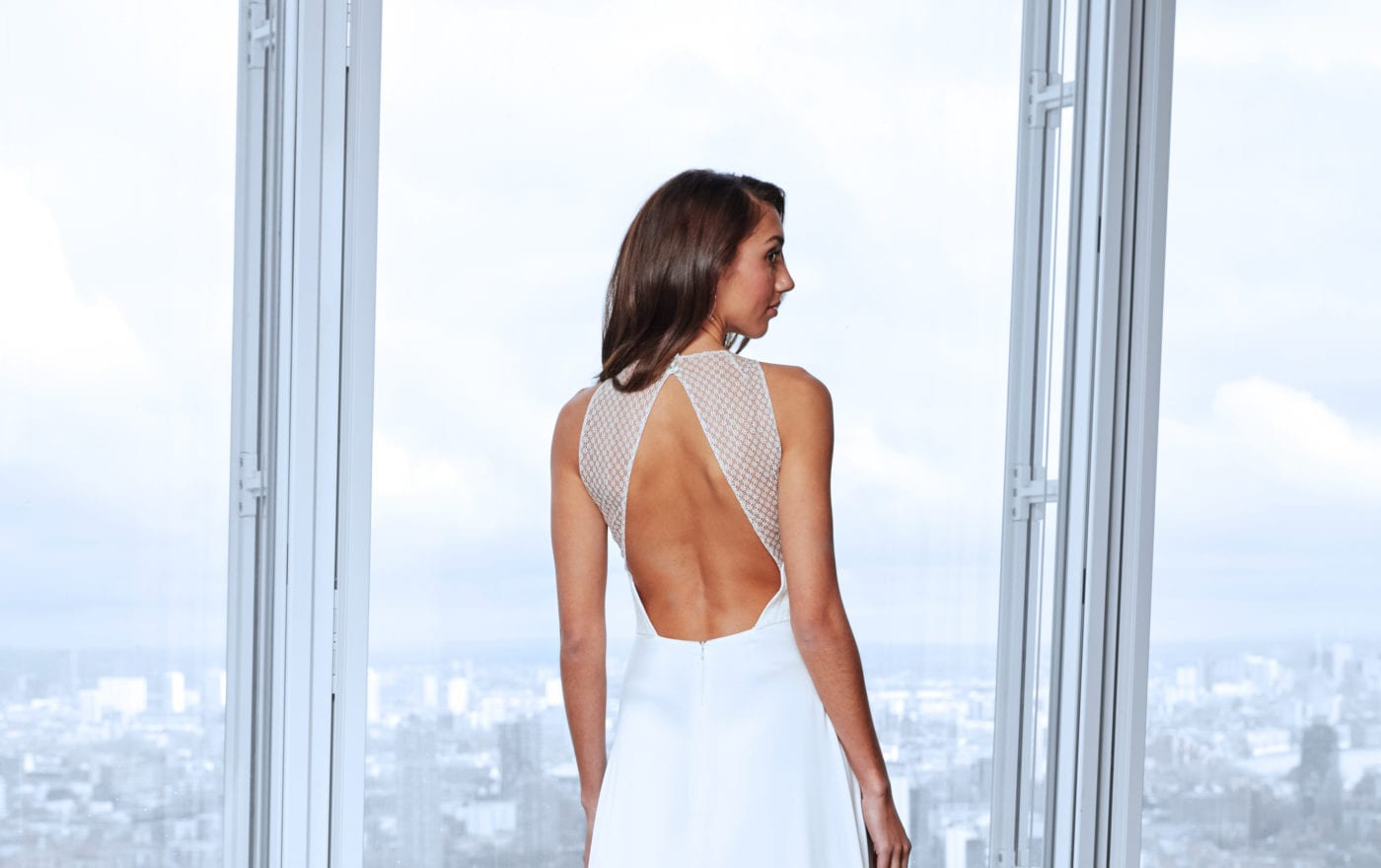 minimalistic lace back wedding dress