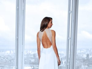minimalistic lace back wedding dress
