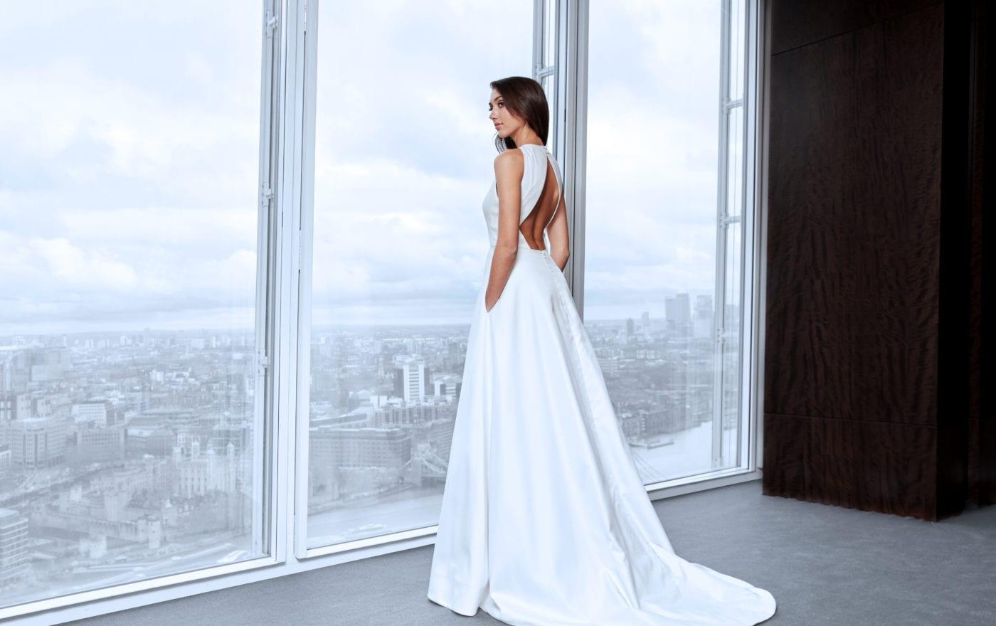 wedding dress with keyhole back and train