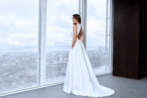 wedding dress with keyhole back and train