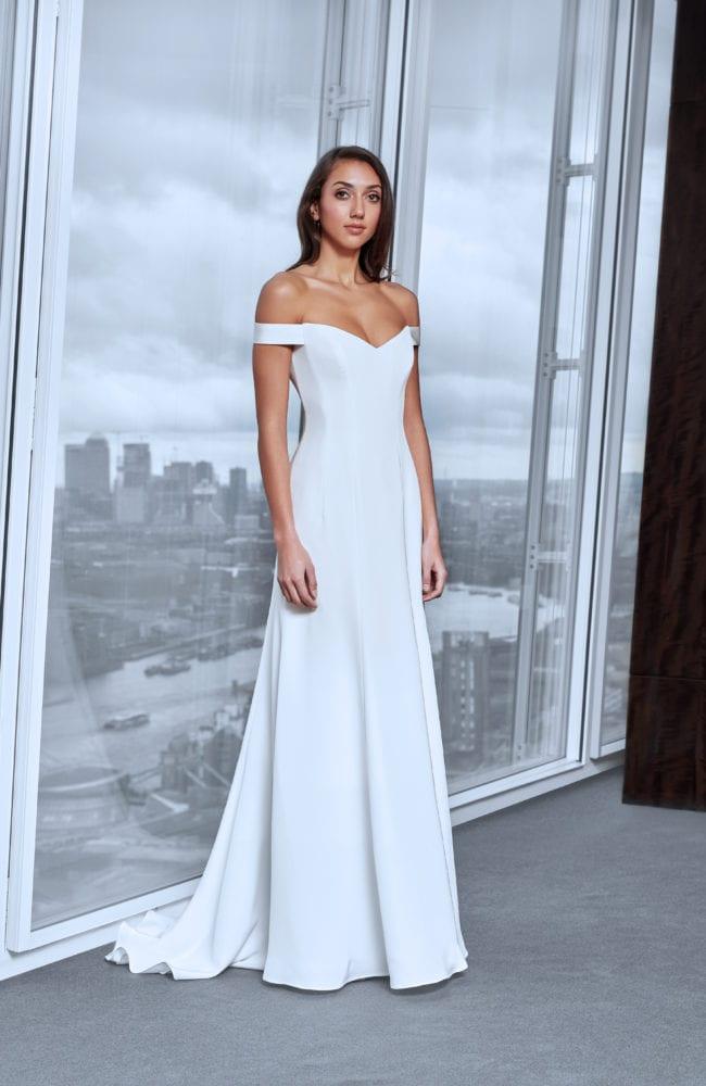minimalistic off the shoulder wedding dress