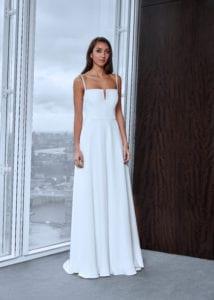 minimalistic spaghetti strap wedding dress