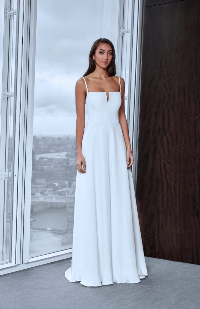 minimalistic spaghetti strap wedding dress