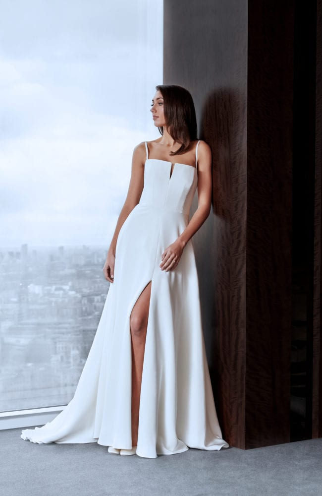 minimalistic thin strap wedding dress