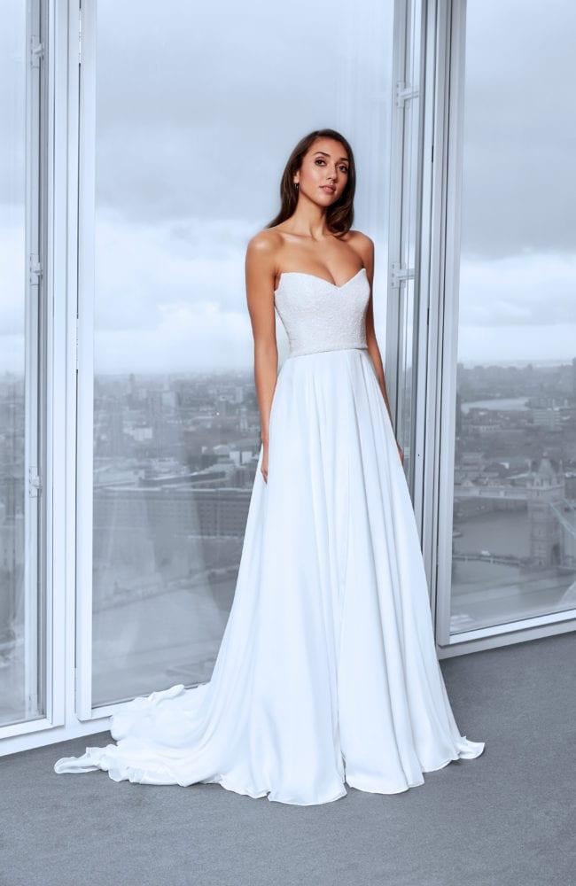beaded top sweetheart neckline strapless wedding dress