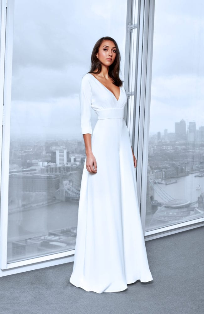 minimalistic v neck wedding dress