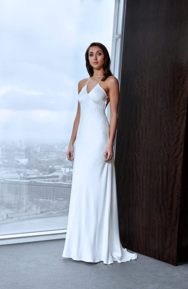 simple satin weddng dress