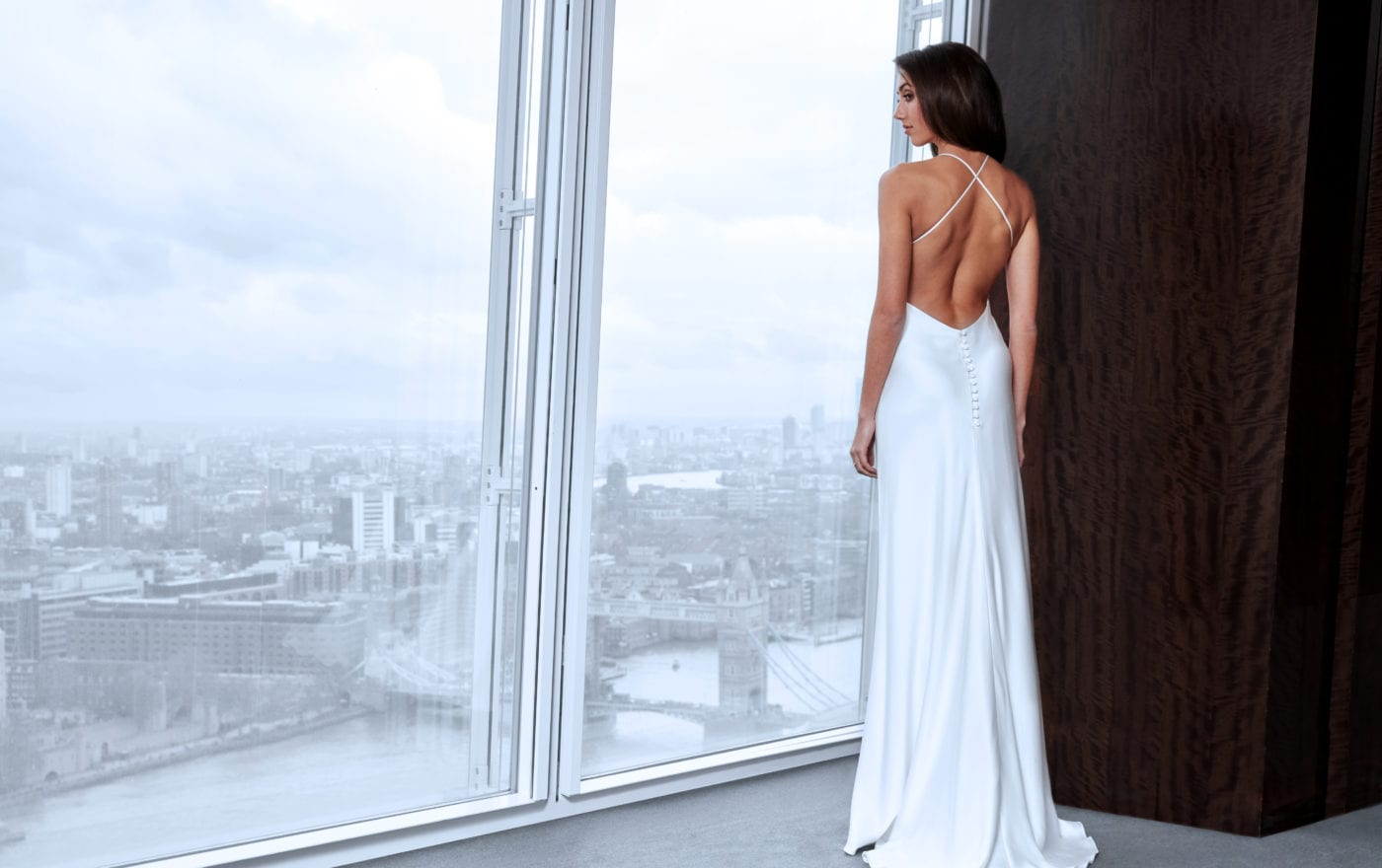simple silk backless wedding dress