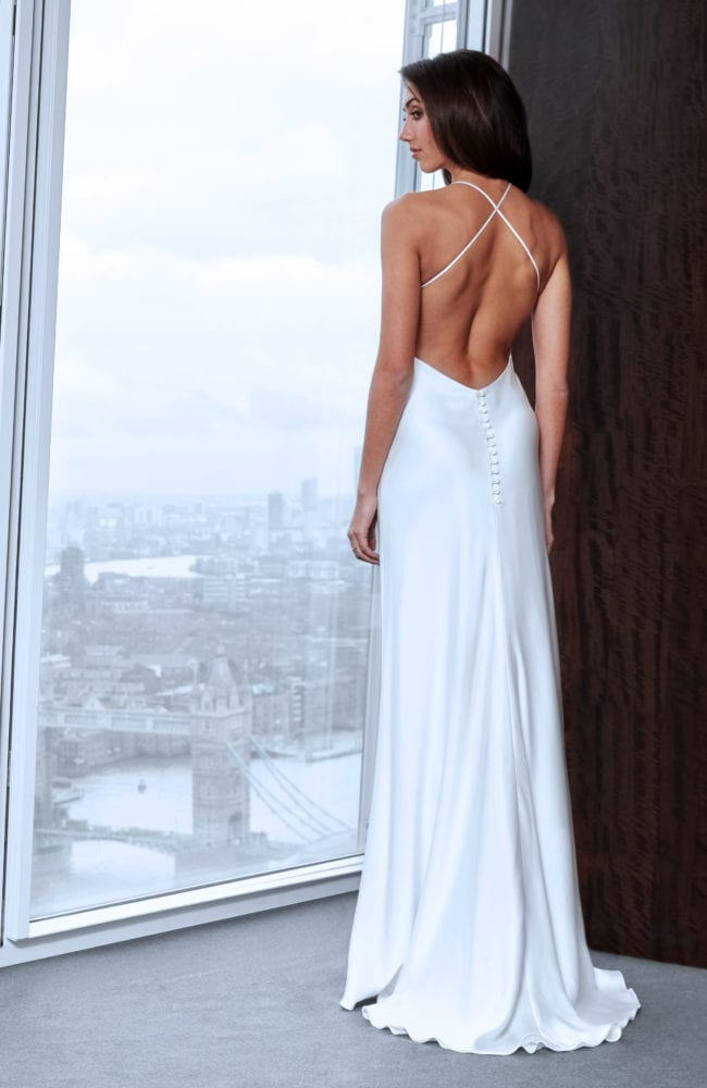 simple silk backless wedding dress