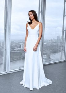 minimalistic simple silk wedding dress