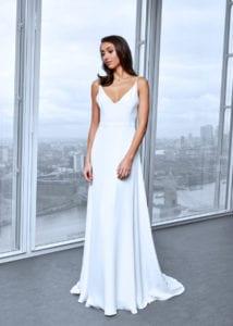 minimalistic simple silk wedding dress