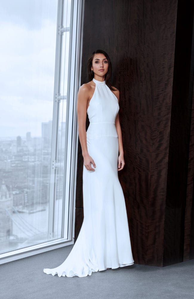 minimalistic halter neck wedding dress