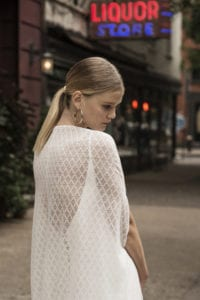 simple backless wedding dress with bridal cape