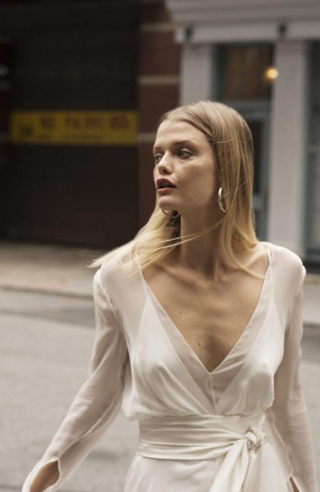 v neck silk wedding dress with opague overdress with silk waist tie shot 1