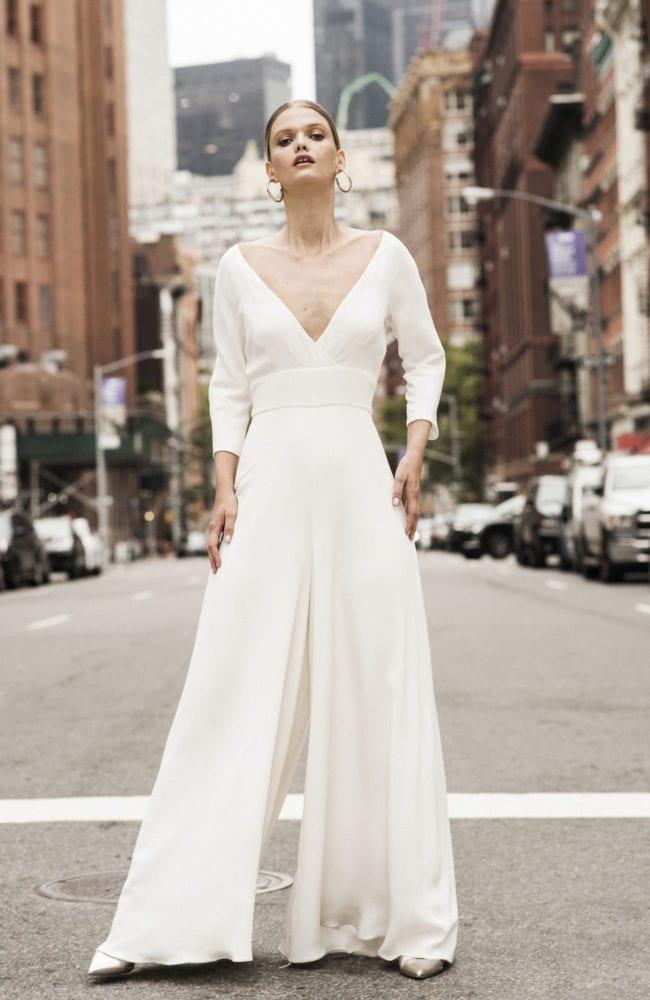 V neck wedding jumpsuit