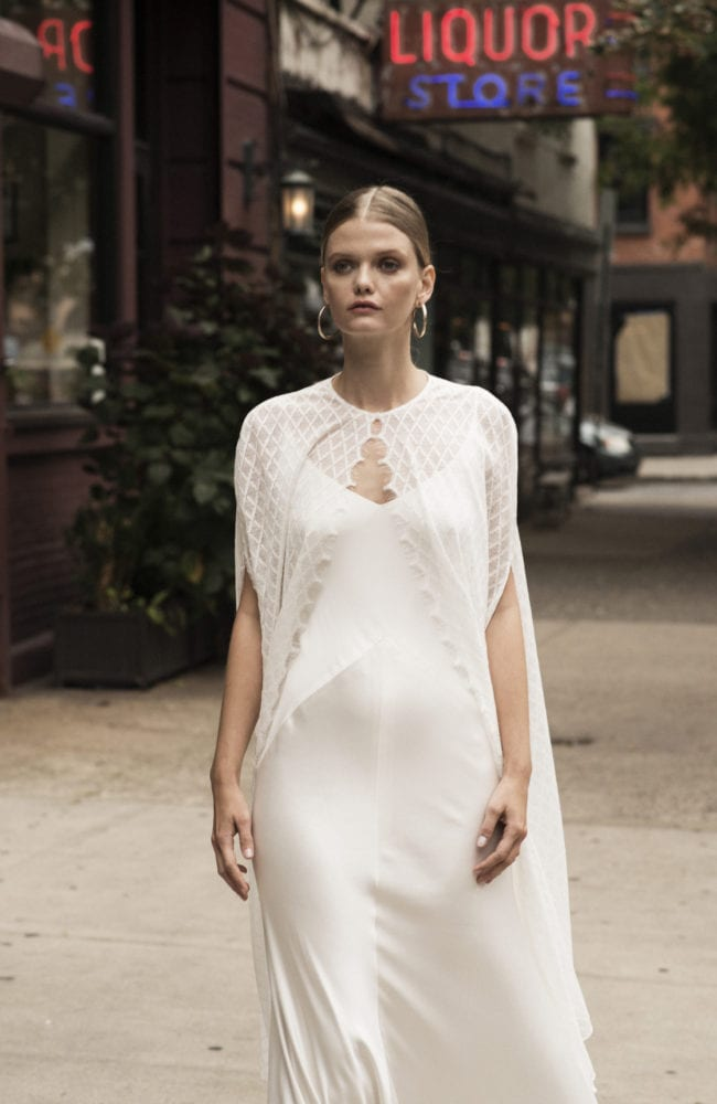 spaghetti strap v neck silk wedding dress with geometric lace cape shot 1