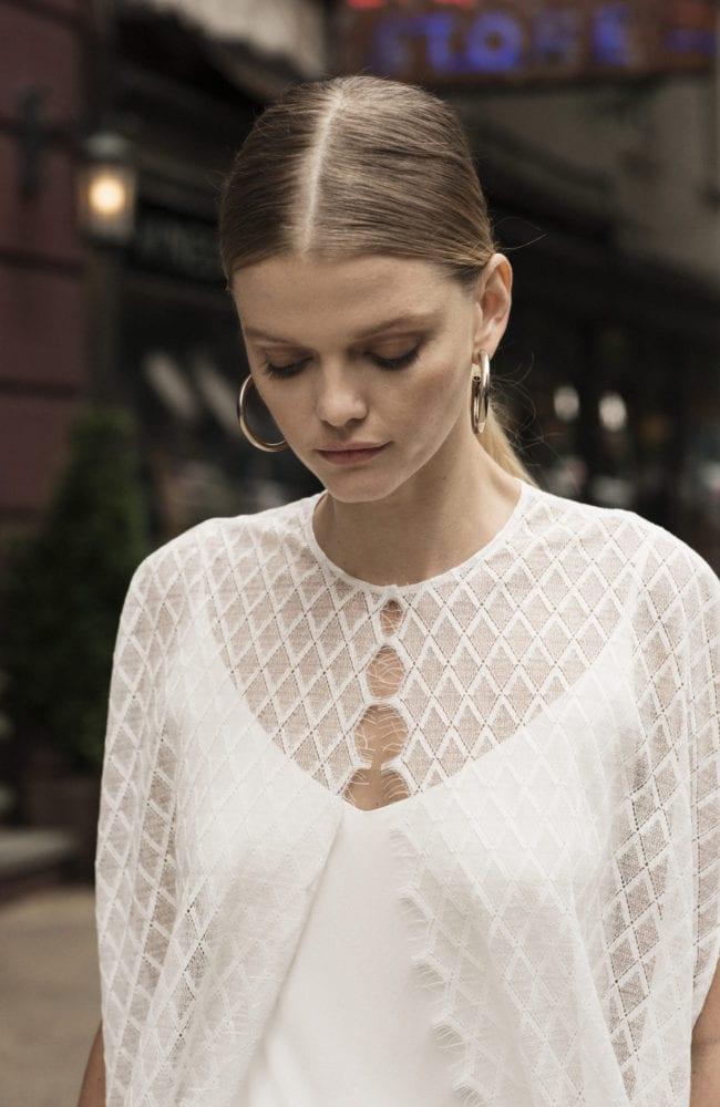 spaghetti strap v neck silk wedding dress with geometric lace cape shot 2