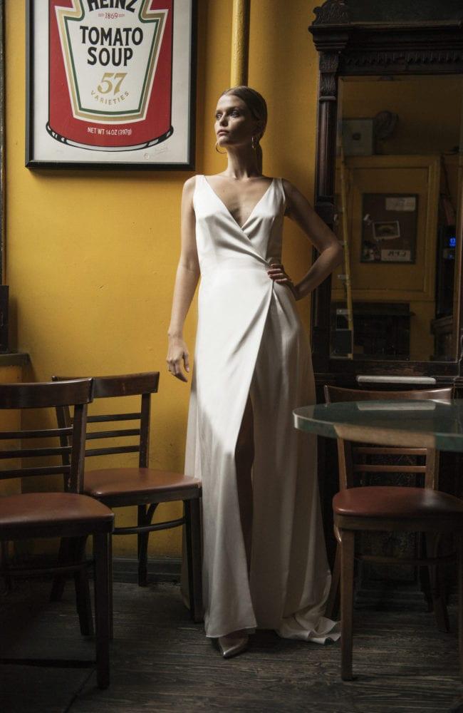 sleek sleeveless v neck wedding dress shot 2