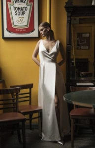 sleek sleeveless v neck wedding dress shot 1