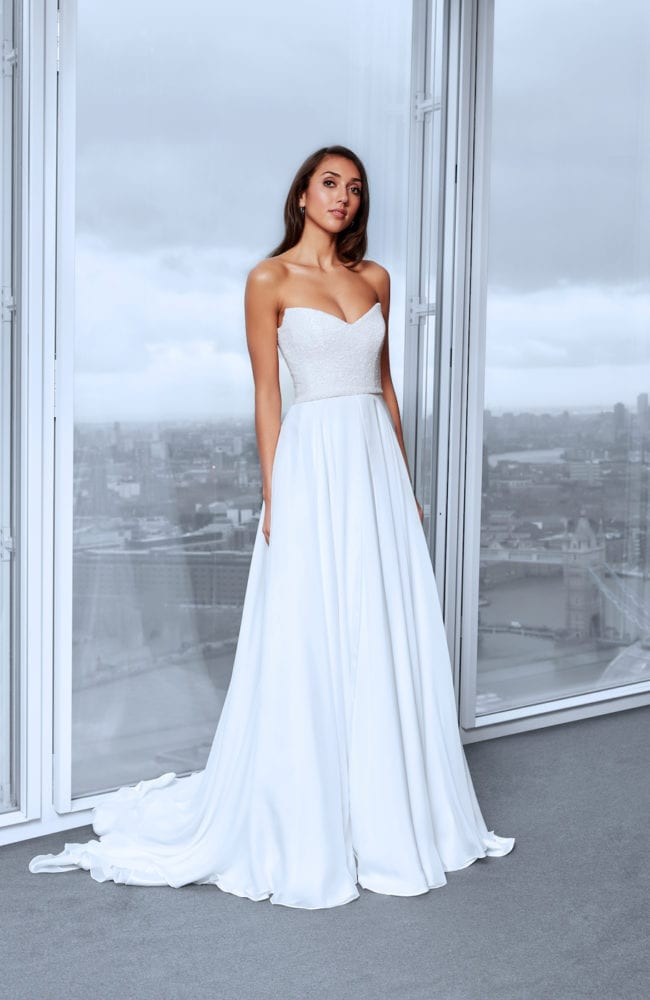 plain strapless corset v neck wedding dress