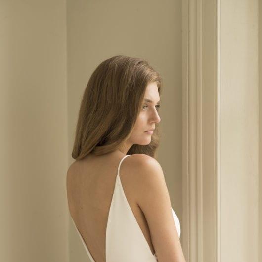 backless silk wedding dress