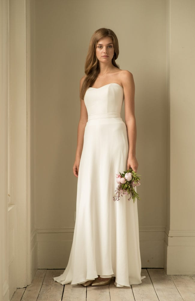 simple strapless wedding dress