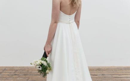 low back wedding dress from behind