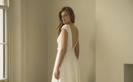 cap sleeve wedding dress with low back