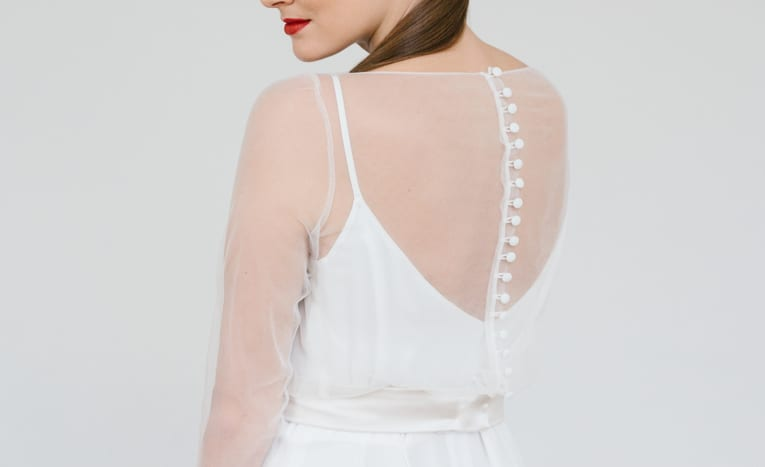 woman wearing opaque bridal top