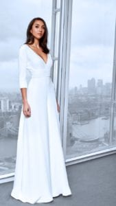 v-neck bridal jumpsuit with sleeves