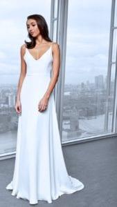 spaghetti strap wedding dress with lace back