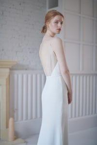 spaghetti strap wedding dress with sheer back