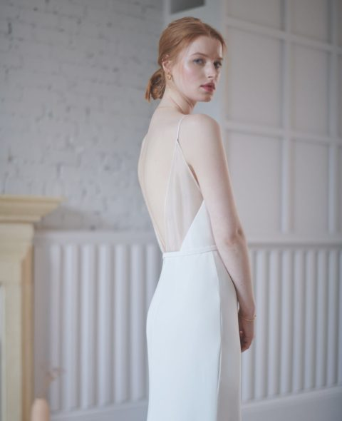spaghetti strap wedding dress with sheer back