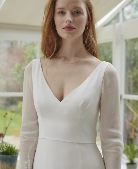 V-neck a-line wedding dress with sheer sleeves