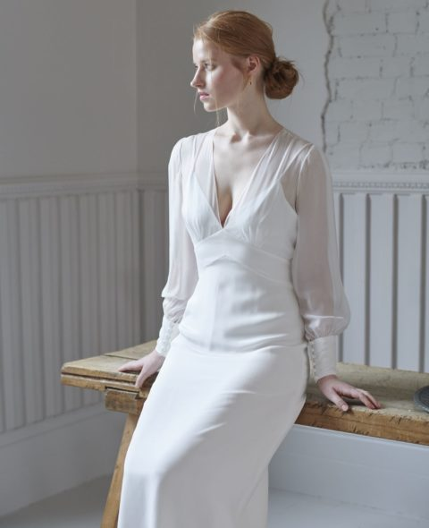 v-neck wedding dress with sheer long sleeves