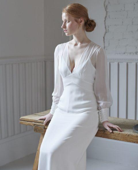 v-neck wedding dress with sheer long sleeves