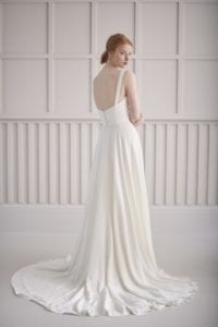 sweetheart strapless wedding dress with built in corset and a-line skirt