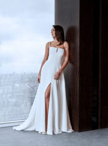 square neck wedding dress with corset and a-line skirt with split
