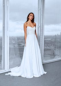 strapless corset wedding dress with a-line skirt and sequins