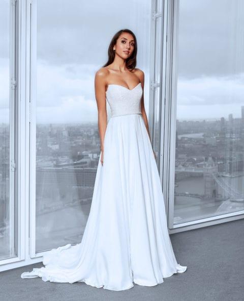 strapless beaded silk corset wedding dress with a-line skirt
