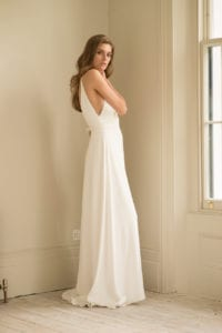 strappy spaghetti strap wedding dress with a-line skirt