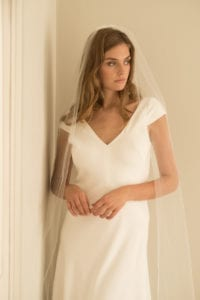 bias cut wedding dress with cap sleeves