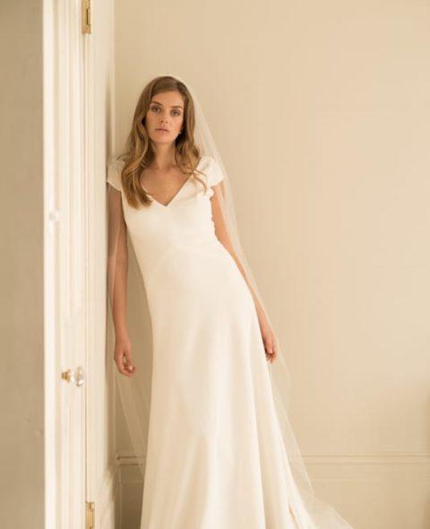 bias cut wedding dress with cap sleeves