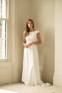 high neck cap sleeve wedding dress with beading