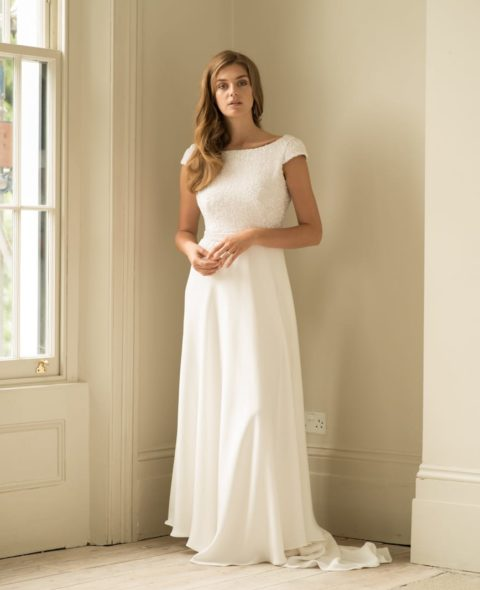 high neck cap sleeve wedding dress with beading