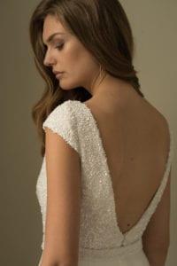 low back cap sleeve wedding dress with beading