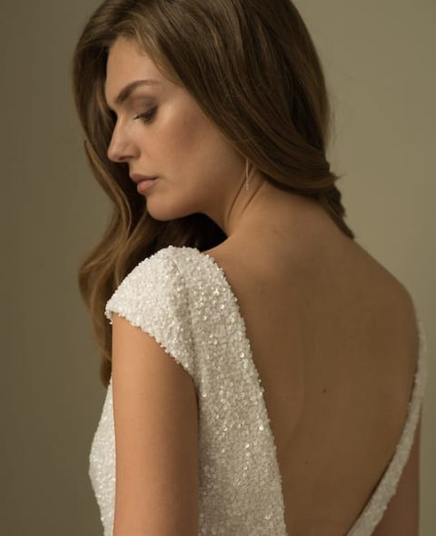 low back cap sleeve wedding dress with beading