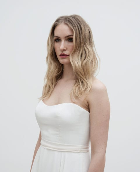 strapless silk corset wedding dress with a-line skirt