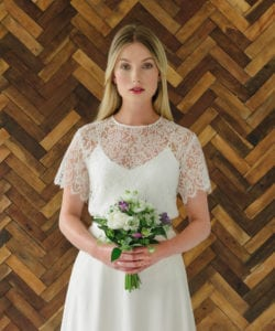 white silk wedding dress with lace bridal top with sleeves